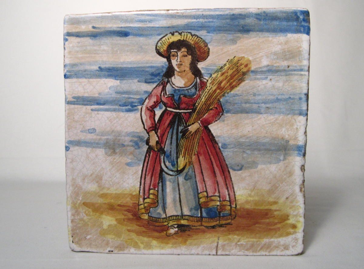 Handpainted Italian Folk Art Tile